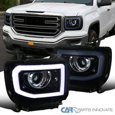 For 14-17 Sierra 1500 2500HD 3500HD LED+Signal Glossy Black Projector Headlights