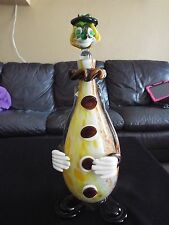 Vintage Mid Century Murano Italy 15 Inch Clown Blown Glass Decanter