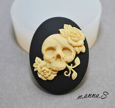 Skull silicone mould rose sugarcraft polymer clay fimo reisn mold goth wax