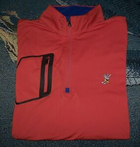 RALPH LAUREN RLX 1/4 Zip Pullover Sweater Shirt WINGED FOOT GOLF CLUB XL Orange