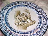 VINTAGE,VERY  LARGE WILD CAT CHARGER, PLATE, 13' across, FLO BLUE TRIM