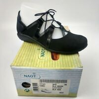 Naot Timu Woman's Black Suede/Nubuck Leather Lace Up Flats EU 36 US 6 UK 3.5