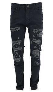 Mens Peviani Slim Fit Ripped Biker Padded Distressed Denim Pants Strech Jeans UK