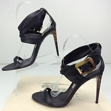 BURBERRY Marham Criss-cross Ankle Strap Sandal Heels Black US 9 EU 39 Stiletto