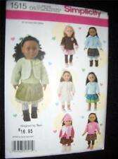 "18"" DOLL NEW 1515/096 Simplicity Pattern Fits American Girl Ruffled Tunic Skirt"