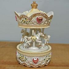 Horses and Hearts Musical Carousel Merry-GO-Round Music Box Ornament