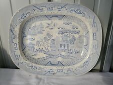 Antique Blue Willow Ashet Platter Circa 1880 Signed