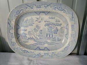 Antique Blue Willow Ashet Platter Circa 1880 Signed