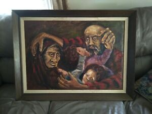 Vintage Spanish Ecuador Fraternidad Jimenez 1962 oil Painting of family