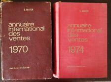 ANNUAIRE INTERNATIONAL DES VENTES MAYER 1970 et1974 Peinture-sculpture.LOT de 2