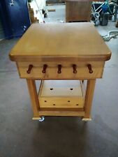 Kitchen island in solid oak with original maple butcher's chopping block
