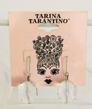 Vintage Tarina Tarantino Clear Lucite Faceted Dangle Hook Post Earrings 1.25""