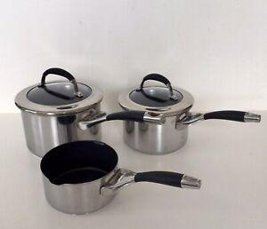 Circulon Steel Elite 3qt, 2qt & 1qt Stainless Steel Pans, Silicon Handle