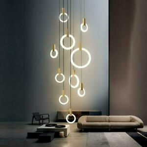 Modern LED Wooden Ring Chandelier Ceiling Living Room On Stairs Hanging Pendant