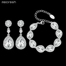 Mecresh Crystal Teardrop Earrings Bracelet Set Wedding Bridal Jewellery Set