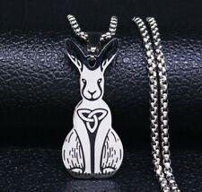 Rabbit triskelion triskeles Celtic Triquetra knot Symbol Motif pendant St. steel