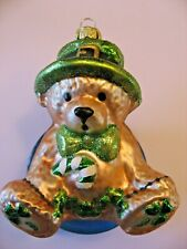 Vintage Irish Teddy Bear with Candy Cane Glass Christmas Ornaments