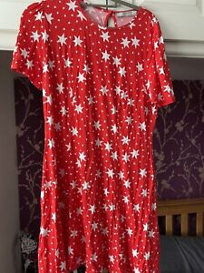 Red And White Star Pront Dress - ASOS - Size 18
