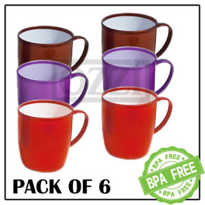 6 x Reusable COLOURFUL PLASTIC MUGS Drinking Cups Tea Coffee Camping Picnic Kids