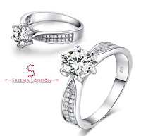 925 Sterling Silver Pavé Solitaire Round with Accent Engagement Ring - CZ