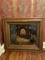 Beautiful Large Religious Victorian Antique Vintage Gesso And Oak Wood Frame