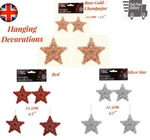 2Star Hanging Christmas Tree Decoration  Red Silver Rose Gold Bauble Ornament