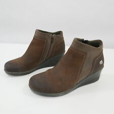 Keen Wedge Ankle Boots Booties Womens 9.5 Brown Leather Zipper