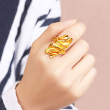 Pure 24K Yellow Gold Ring Elegant Woman's Blooming Flowers Lucky Ring Size 9.5