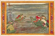 Artwork Postcard Dressed Frogs In A Pond, Rie Cramer~119298