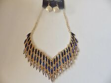Statement Necklace 39: Sectional Teal/Diamante, Gold Plated Chain, Drop Earrings