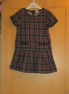 TU GIRLS 4 YEARS CHECK BLACK/WINE SHORT SLEEVE DRESS