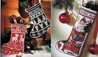 🎄 Set of 3 FOLK ART & WHITE WORK Christmas Stocking Cross Stitch Charts