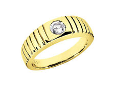 Band Ring 14K Yellow Gold H Si2 Natural 0.50Ct Round Cut Solitaire Mens Wedding