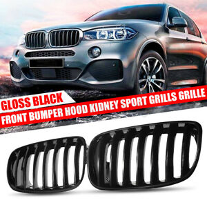 FRONT KIDNEY GLOSS BLACK GRILL GRILLES FOR BMW E70 E71 X5 X6 2007-2013
