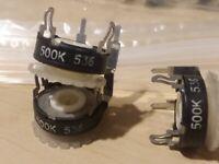 PIHER 2 pcs 500K Ohm Trim Pot 40X0590  Adjustable Linear Potentiometer  Vintage