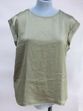 BNWT Mango Olive Green Woven Front Blouse Top size M  Relaxed Fit UK 12 14