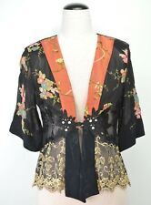 Spencer Alexis Womens Kimono Jacket Floral Lace Embroidered Size Large P Black