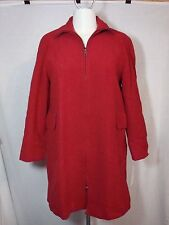 NWT Anne Klein Solid Red Wool Fully-Lined LS 2-Way Front-Zip Coat/Jacket M