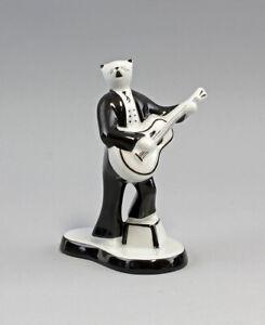 9986192 Porzellan Figur Katze Gitarre Musiker 50er Jahre Stil H13,5cm
