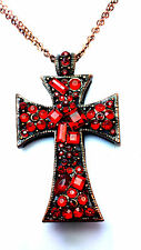 MAROON / RED MULTI STONE CROSS NECKLACE GOTHIC HALLOWEEN BLOOD RED SPECIAL (B5)