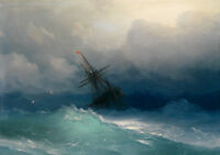 Charming oil painting seascape storm ocean waves Perils of the sea wih ship 36""