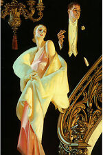 1932 J.C. Leyendecker, Couple Descending Staircase, Beautiful, 16x11 Canvas Art