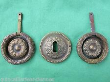 2 poignées anneaux rosaces entrée  tiroirs meuble style Louis XVI dia. 5,6 cm