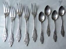 Lot of 9 German Hanseat 90 Silverplate 5 Pastry Forks + 4 Demitasse Spoons