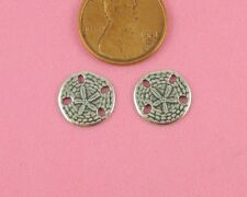 No Ring - 2 Pc(s) Small Antique Silver Sand Dollar Charm