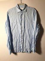 Vincenzo De Lauziers Mens Lino Italian Linen Light Blue Button Shirt Size 42