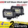 4inch 200W LED Work Flood Square Spot Light 12V 24V Off Road Truck Boat SUV Lamp