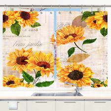 Vintage Sunflowers Wallpaper Window Curtain Treatments Kitchen Curtains 2 Panels
