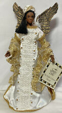 """SANDY DOLLS 12"""" Christmas Tree Topper~ Tahirah ~ AFRICAN ANGEL In Gold & White"""
