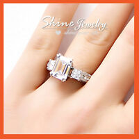 18K WHITE GOLD GF VICTORIAN LUXURY SQUARE CRYSTAL WOMENS ENGAGEMENT WEDDING RING